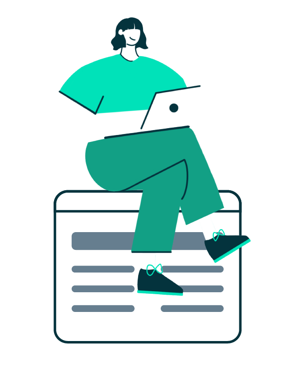 graphic of person working on laptop